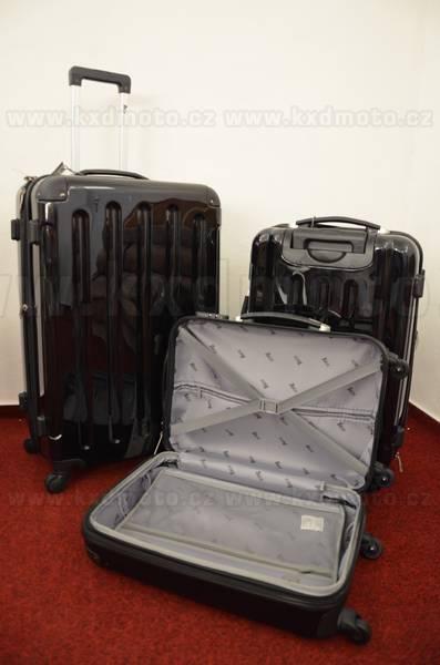 sada skořepinové kufry 3ks cestovní 4 kolečka - černá