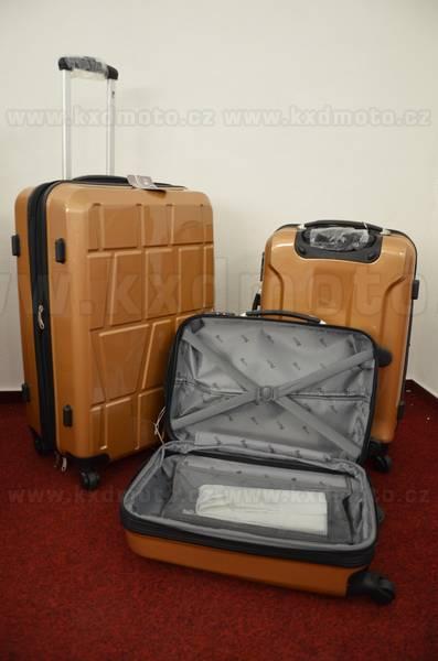 sada skořepinové kufry 3ks cestovní 4 kolečka - cappuccino