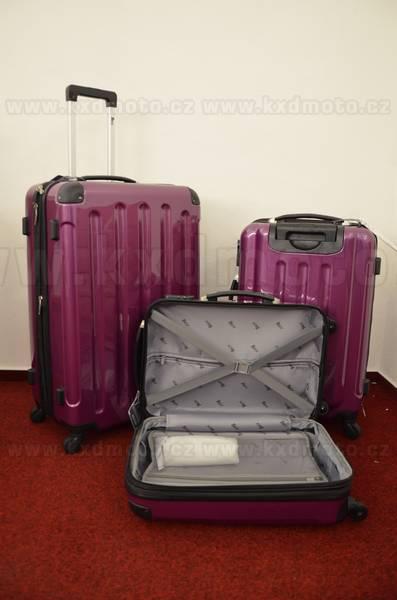 sada skořepinové kufry 3ks cestovní 4 kolečka - fialová