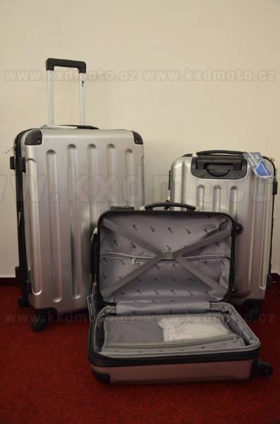 sada skořepinové kufry 3ks cestovní 4 kolečka - stříbrná