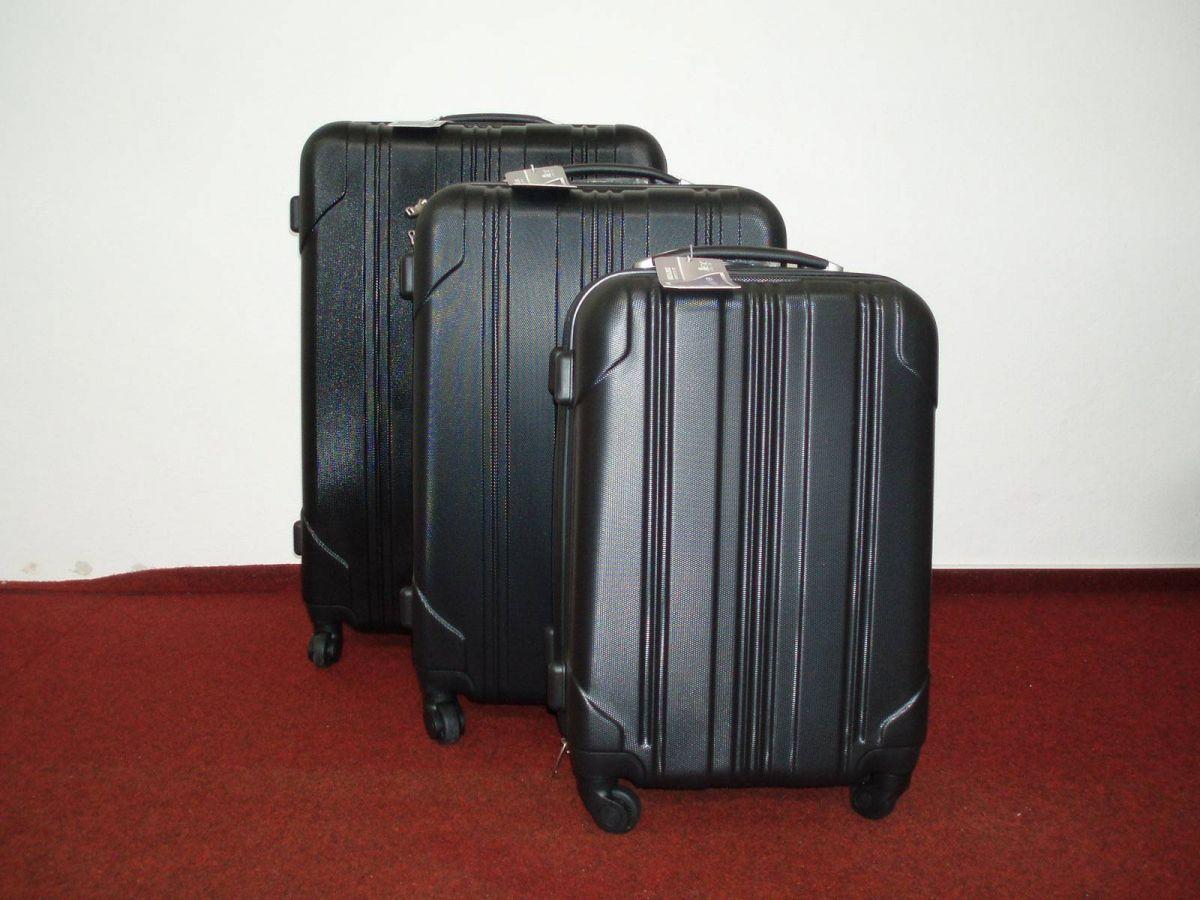 sada skořepinové kufry 3ks cestovní 4 kolečka - černá mat